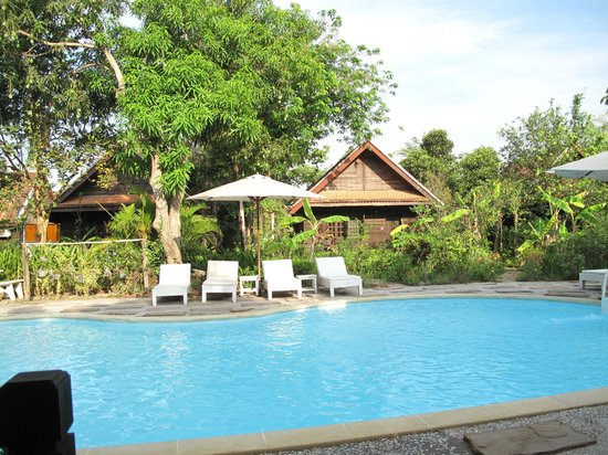 Palm Village Resort & Spa: the pool with bungalows behind