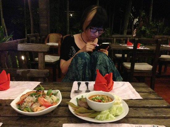 Palm Village Resort & Spa: The restaurant area just opposite the reception area, having our instant noodles