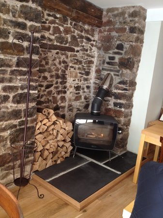 Food at Williams: The log burner so cosy on a cold day.