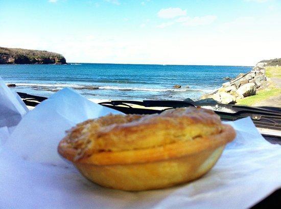 Hayden's Pies: Eating Hayden's Pie's by Ulladulla Harbour