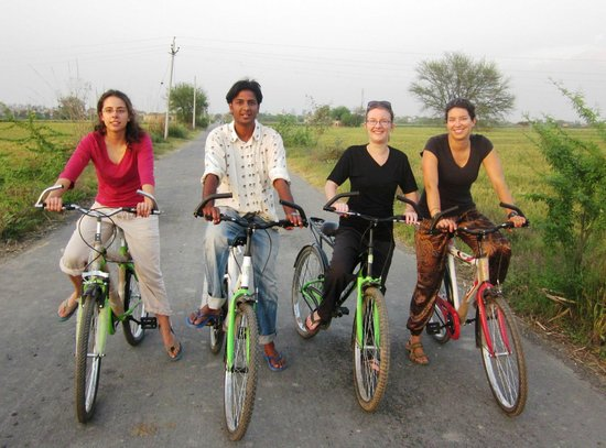 Rohtak, Hindistan: Cycling Through lush green farm fields