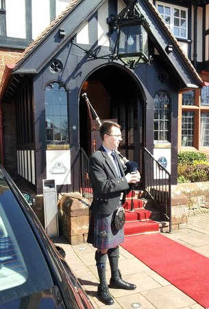 Piper outside the Piersland House Hotel awaiting bride & groom
