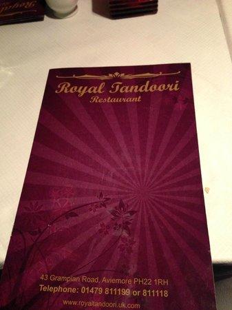 Royal Tandoori: Menu Card
