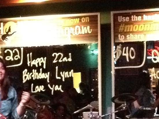 "Howl at the Moon: paid $22 to put ""happy 22nd bday"" :)"