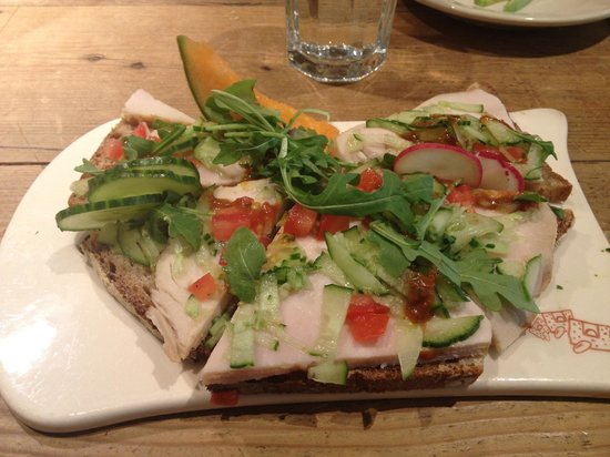 Le Pain Quotidien: My delicious open faced turkey sandwich!! YUM