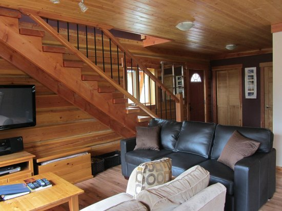 Mount 7 Lodges: Bear Lodge living area, flat screen TV and leather sofa bed
