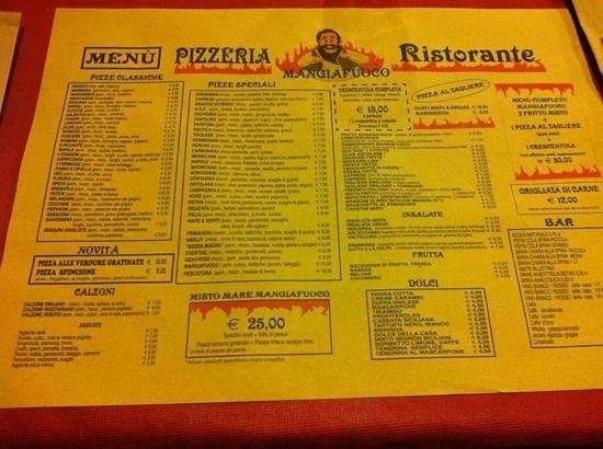 Pizzeria Stuzzicheria Mangiafuoco : il menù