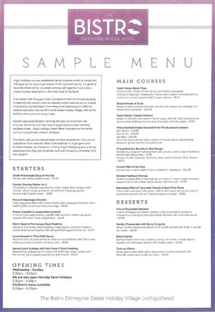 Drimsynie Estate Holiday Village: Bistro Sample Menu
