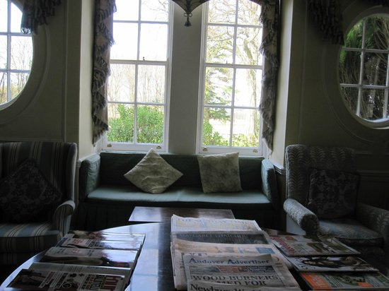 Esseborne Manor: Looking out from a lounge, complimentary newspapers are offered