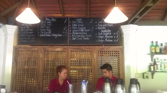 The Pavilion: Open air restaurant counter with breakfast menu
