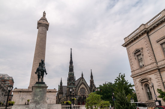 Washington Monument and Mount Vernon Place: Monument on Left from Mount Vernon Park