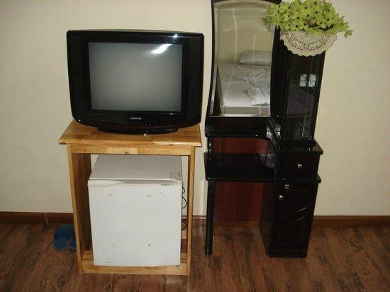 Google Hostel: Tv and mini bar