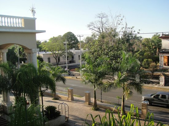 Wyndham Mérida: View from the balcony of our room. Parrots are in the tree across the street in the mornings.