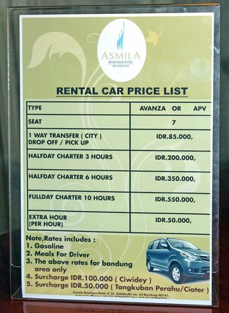 Asmila Boutique Hotel: car rental list Asmila Hotel Bandung