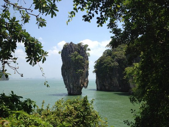 Amphoe Thalang, Thailand: View of James Bond island from Ping Gan island
