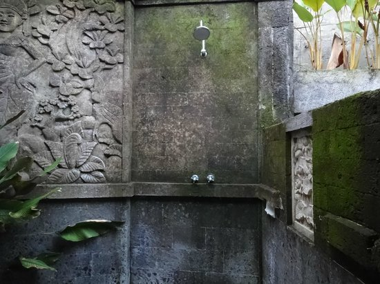 Villa Awang Awang: The outdoor shower, really cool, amazing carvings in the stone.