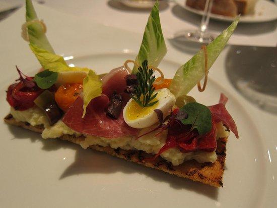 Restaurant Gordon Ramsay: Salt cod brandade, 'Tartine', noir de bigorre ham, piquillo peppers, olives, confit tomatoes and
