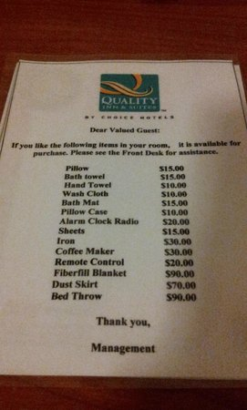 "Quality Inn & Suites - Anaheim Resort: ""Price List"" for Stolen Items from Room"