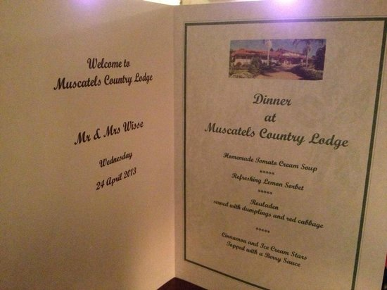 Mountain Sanctuary B&B: Personalised menu, what a special touch.