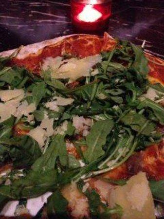 Belvedere Restaurant : Pizza with prosciutto, parmesan, rocket lettuce etc.