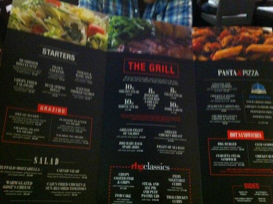 Park Inn by Radisson Telford: The Pub Grub restaurant menu