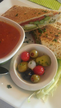 Bread and Olives Food Flair: Vegetarian Flatbread, Little Olive Bowl, Tomato Basil Asiago Soup
