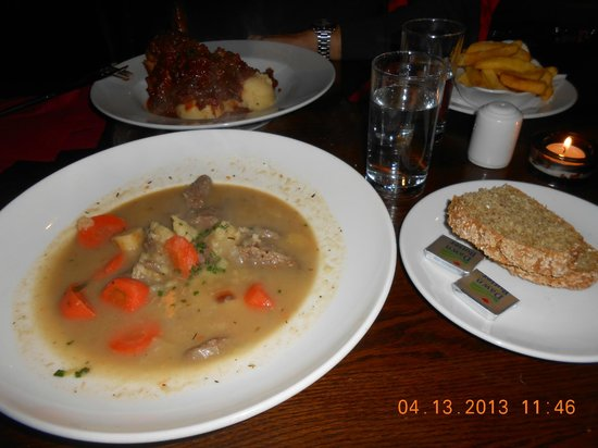 Stonechat Cafe and Restaurant : Stew on front and Lamb shank on back