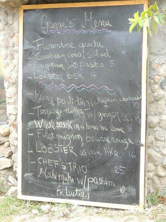 Fire Side Inn - Georges' Grill: George's marvelous menu