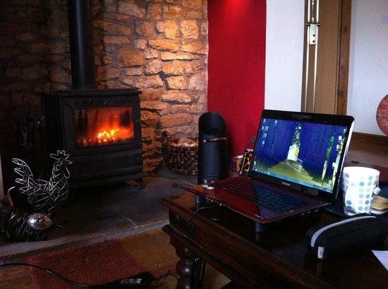 Foxhill Barn B&B: My favourite spot - by the fire. So damn cozy.