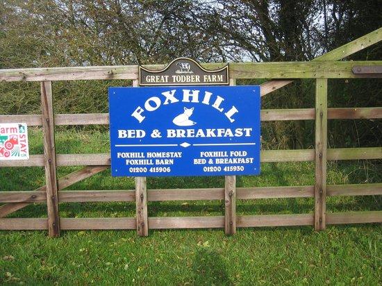 Foxhill Barn B&B: Main gate