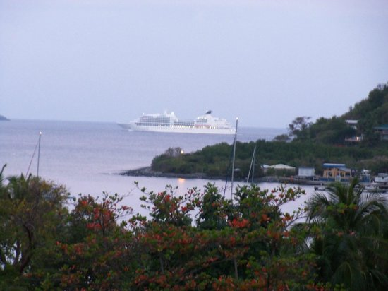 Agape Cottages: Watching a cruise ship go by