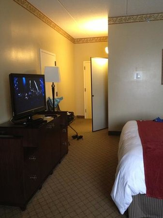 Radisson Paper Valley Hotel: great tv, the door half way open is the closet