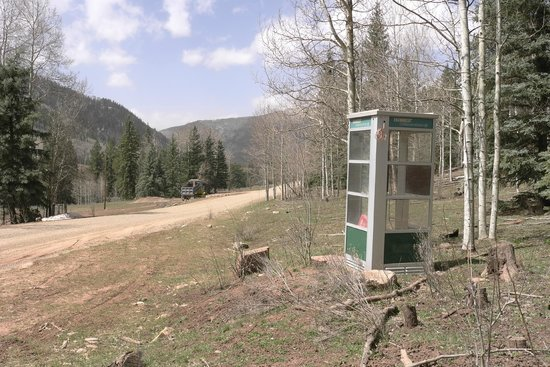 Dunton Hot Springs: Last chance to phone home (it works!) on road into Dunton