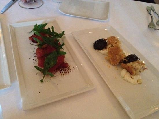 Cass House Restaurant: brasaola and arugula and cheese w/ biscuit and prunes