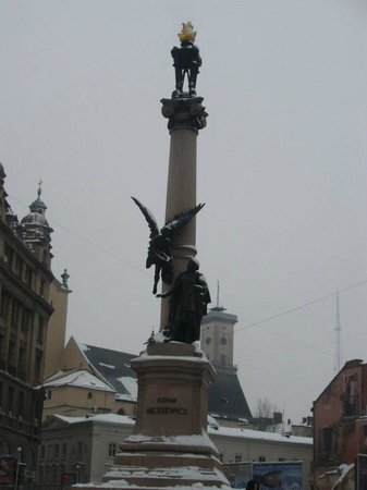Adam Mickiewicz Monument during winter