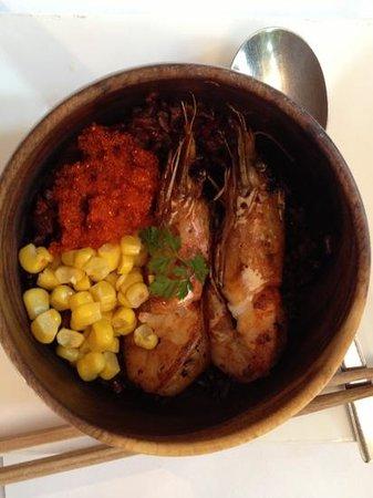Wild Rocket @ Mount Emily: garlic prawn mini donburi