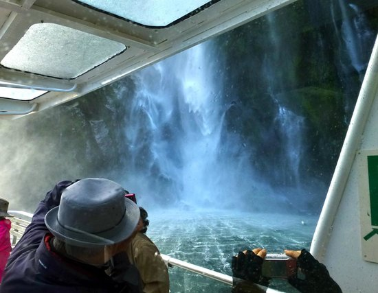 Milford Sound: We got up close and personal with this waterfall...splash zone!