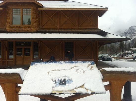 Local 'Snow Art' in front of Banff Park Museum