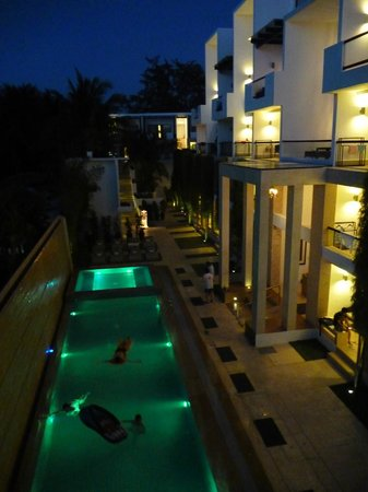 The District Boracay: The pool lit up at night