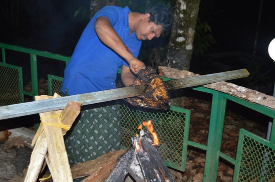 Cool Resort: grilled chicken behind the cottage