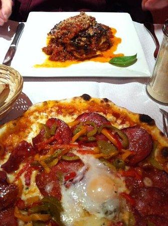 chorizo pizza and lasagne