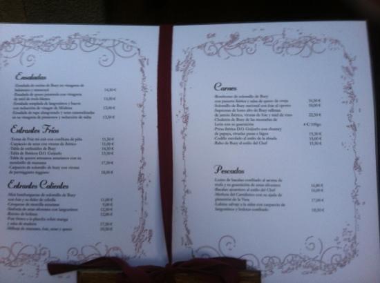 Cho Zacarías Restaurante : menu