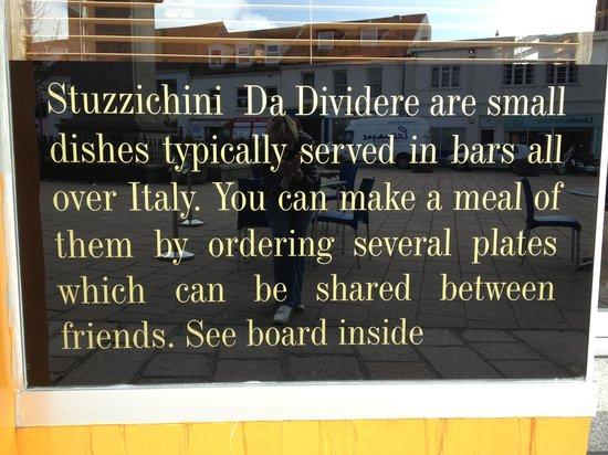 """Vecchia Milano: """"Stuzzichini"""" menu board"""