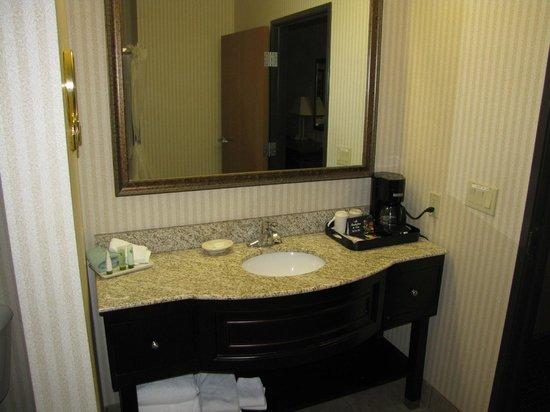 Inn on Barons Creek: Bathroom counter. Weird white smudge on front left corner.