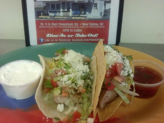 Patio Drive In Restaurant & Ice Cream Parlor: Mahi Mahi tacos....shown here is 1 soft and 1 hard taco. Serving size is 3 tacos. Dinner or solo
