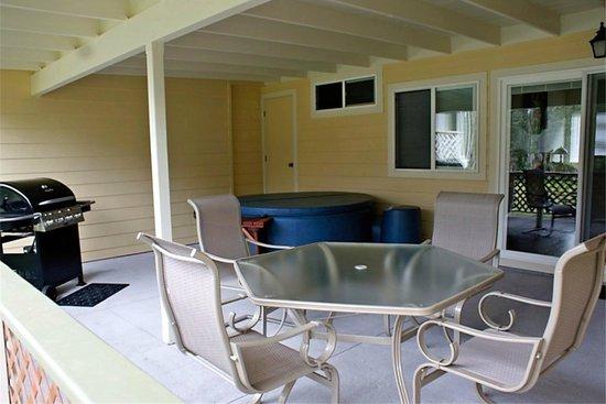 Keaau Place: Each patio has a BBQ and private Softub.