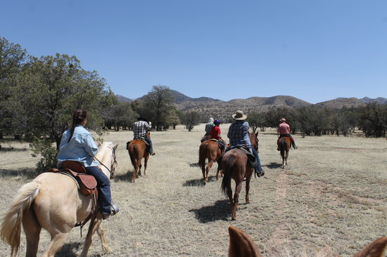 Hideout Ranch guests set out across the Parade Grounds at Camp Rucker to explore the soaring cli