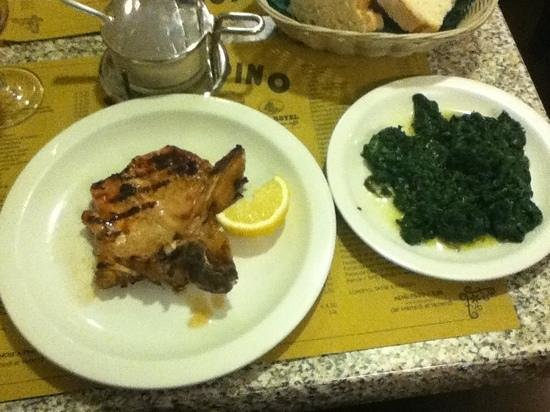 San Jacopino Trattoria Pizzeria: veal chop and spinach