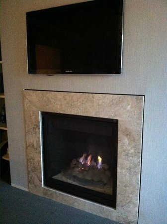 Forty 1⁰ North: Gas fireplace under the TV