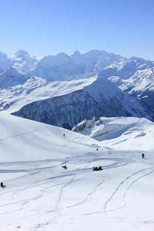 Grindelwald, Schweiz: People racing down